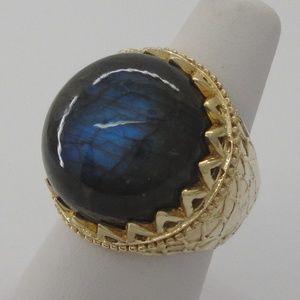 Sterling Labradorite Cabochon Gold Vermeil Ring